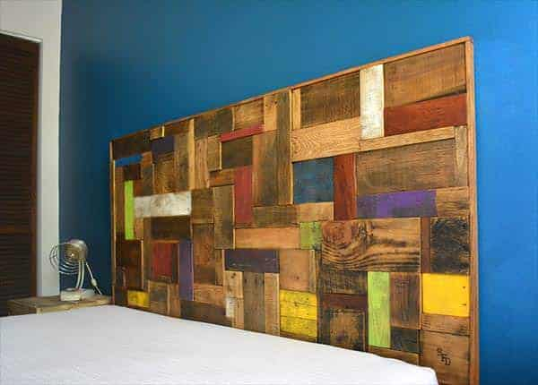 Colorful Headboard Made Out Of Recycled Pallets • Recyclart