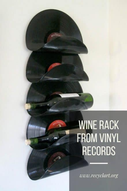 Wine Rack Made From Upcycled Vinyl Records