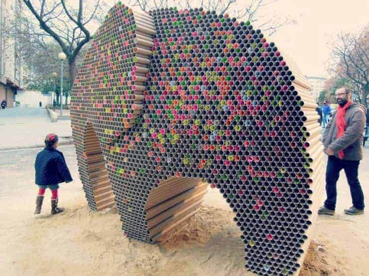 Elephant Made Out Of 6000 Recycled Cardboard Tubes • Recyclart