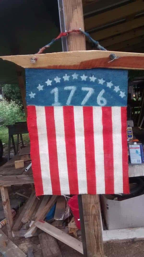 Coffee Bean Burlap Flag Amp Pallet Wood Flag Recyclart