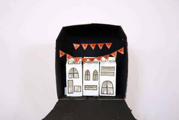 Cardboard Halloween Town Recycled Cardboard