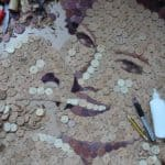 Portrait Made Out Of Reused Wine Corks