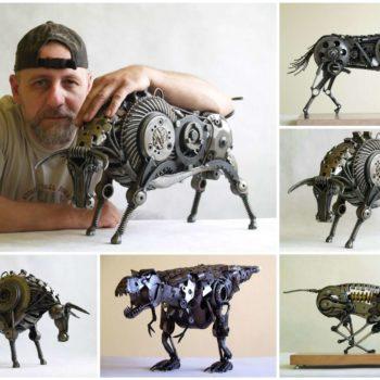 Animal Sculptures Made Out of Scrap Metal byTomas Vitanovsky