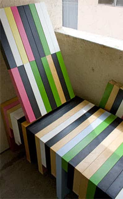 Colorful Bench Made From Upycled Ikea Lack Coffee Tables Recycled Furniture