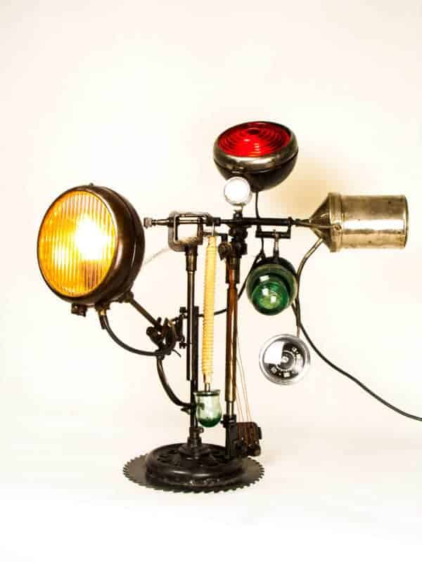 Industrial Metal Lamp Upcycled From Salvaged Moto Lamps & Lights
