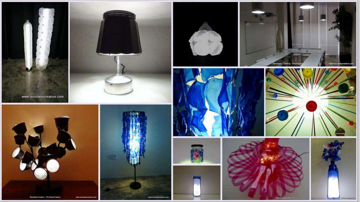 20 lamps made out of recycled plastic bottles recyclart