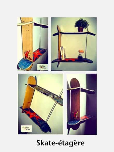 Shelves Made From Reused Skateboard Decks