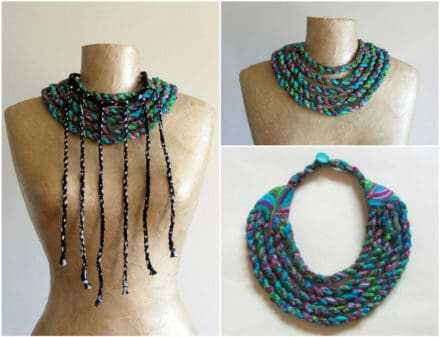 Scraps Of Fabric Into Tribal Necklaces