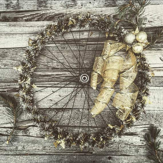 Bicycle Wheel Into Holiday Wreath Upcycled Bicycle Parts