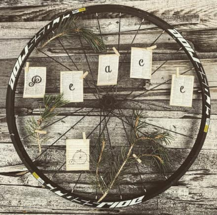 Bicycle Wheel Upcycled Into Holiday Wreath
