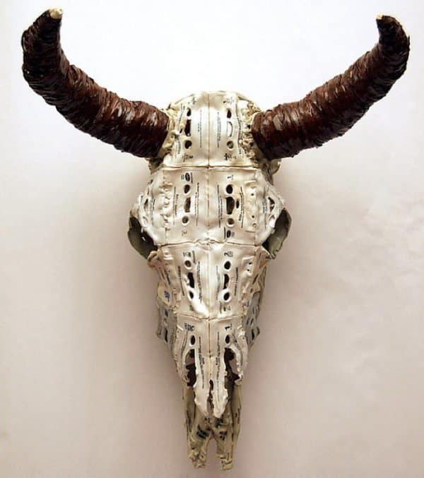 Skulls Made Out Of Upcycled & Melted Cassette Tapes Recycled Art Recycled Electronic Waste
