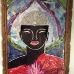 Buddha, Collage From Upcycled Magazines, Newspapers & Buttons