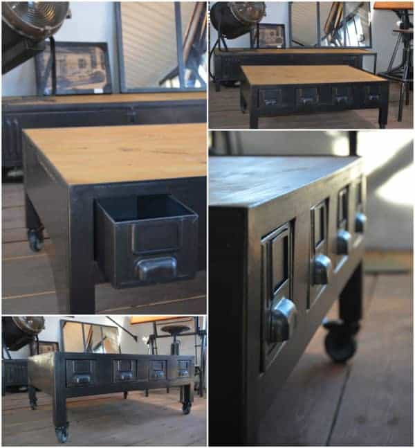 Industrial Coffee Table With Drawers / Table Basse