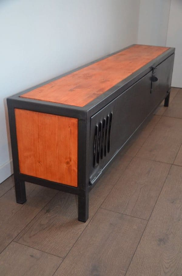 Industrial wood metal tv stand meuble tv bois et m tal for Meuble porte verrouillable