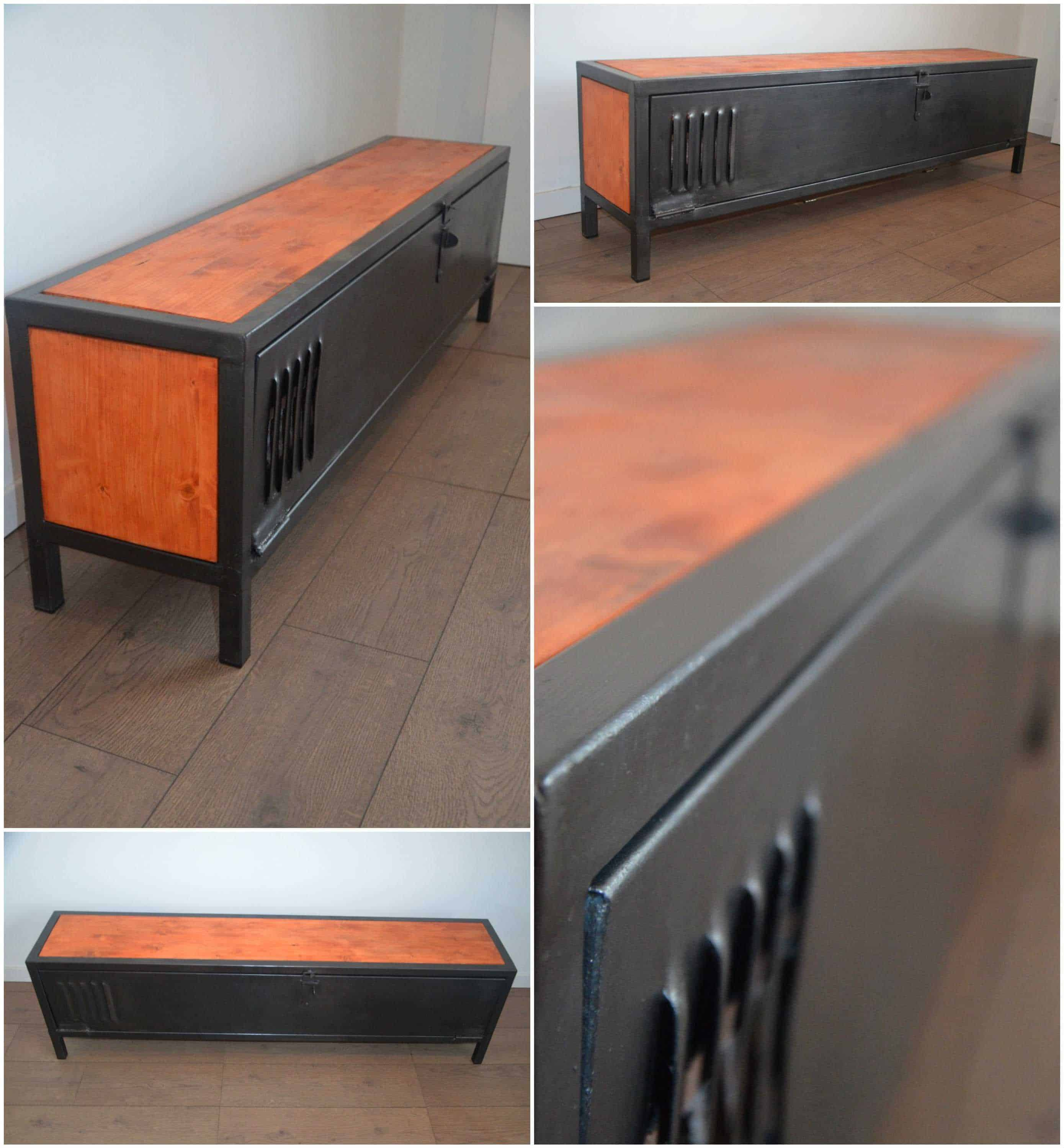 Industrial Wood Metal Tv Stand Meuble Tv Bois Et M Tal N O  # Creation Meuble Tv