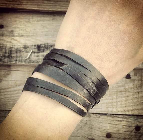 "Vegan ""leather"" Bracelets A.k.a. Bike Innertube Bracelets Accessories Upcycled Bicycle Parts"