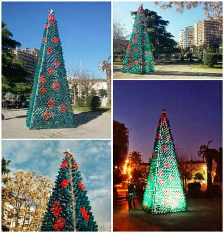 Christmas Tree Made by Citizens from 2200 Recycled Plastic Bottles in Elbasan, Albania