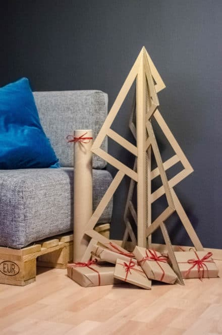 Christmas Tree Made of Upcycled Amazon Packaging