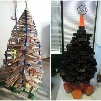 Christmas Trees Made with Recycled Materials
