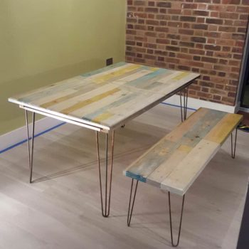 Extendable Pallet Table with Matching Bench & Coffee Table