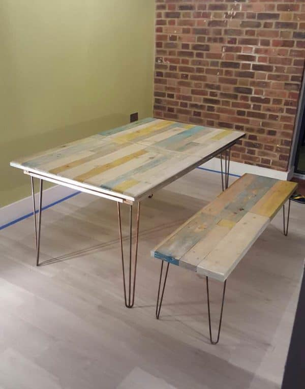 Extendable Pallet Table with Matching Bench & Coffee Table Recycled Furniture Recycled Pallets