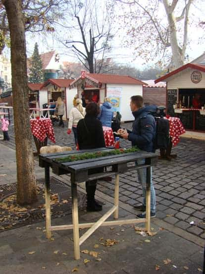 Party Table From Pallet At Christmas Market In Bratislava Recycled Pallets