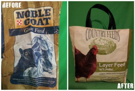 Recycled 50lb Feed Sacks into Shopping Bag