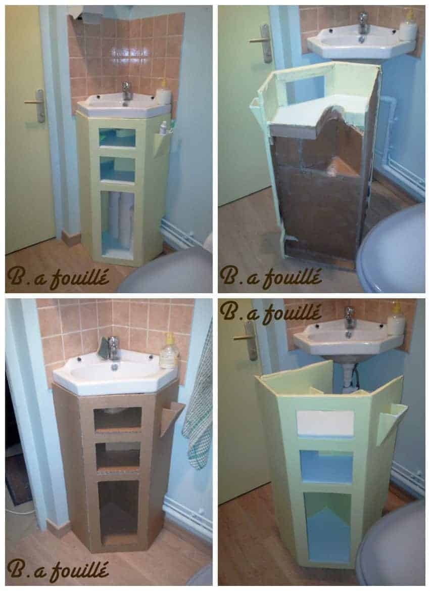 Upcycled Cardboard Around A Siphon As Bathroom Furniture