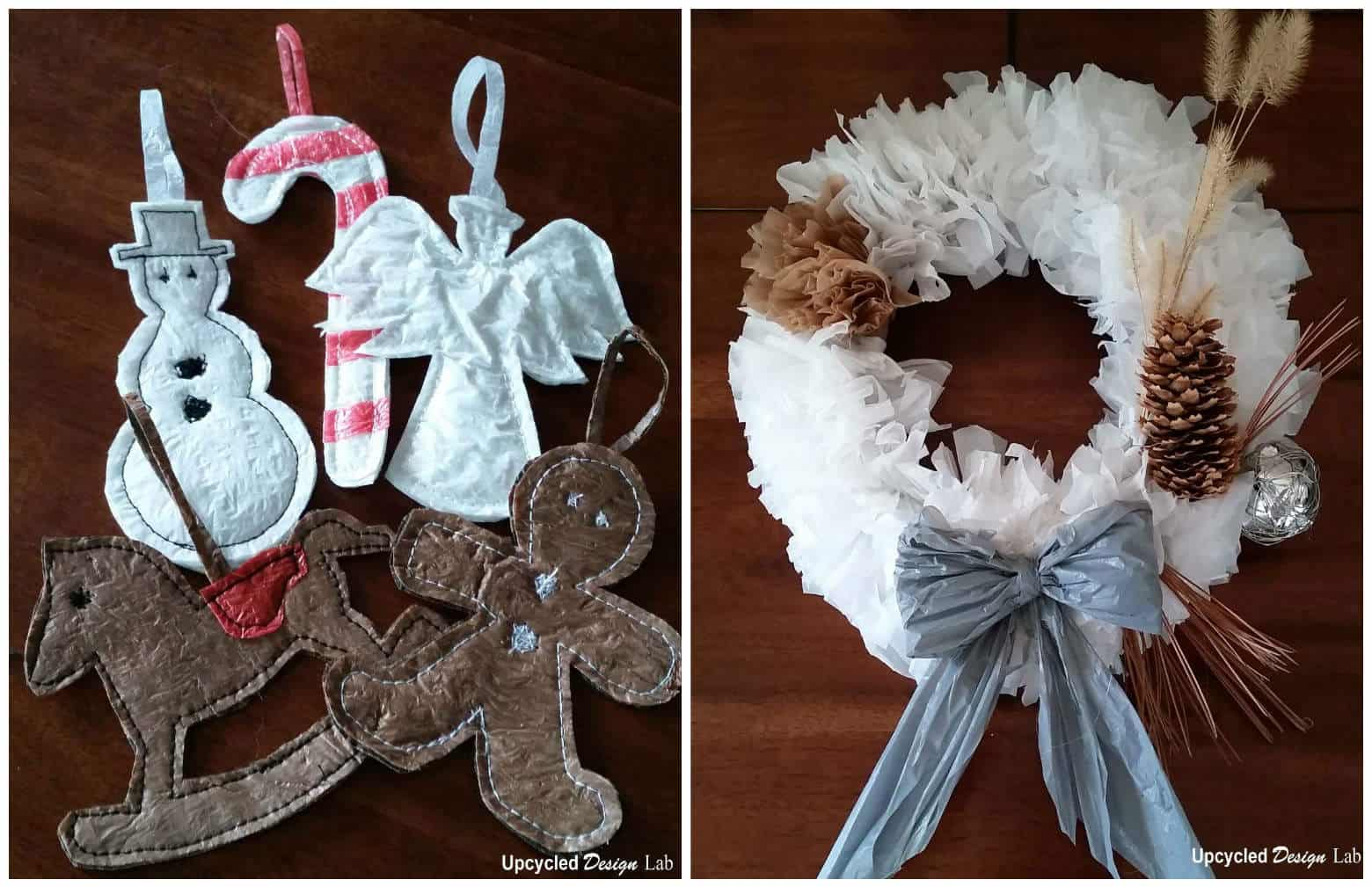 Upcycled plastic bag into christmas decorations recyclart for Bag decoration ideas