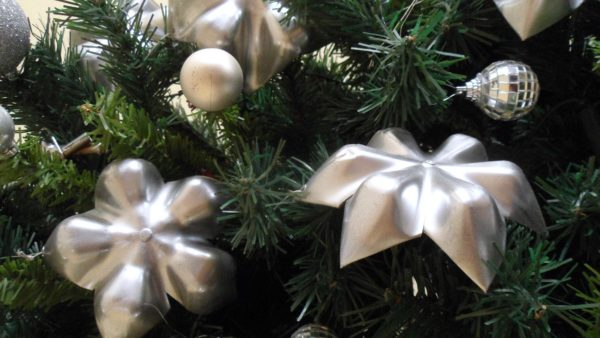 Upcycled Plastic Bottle Bottoms into Stars for Christmas Tree Decoration Accessories Recycled Plastic