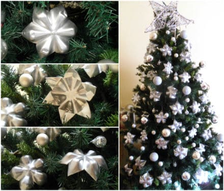 Upcycled Plastic Bottle Bottoms into Stars for Christmas Tree Decoration