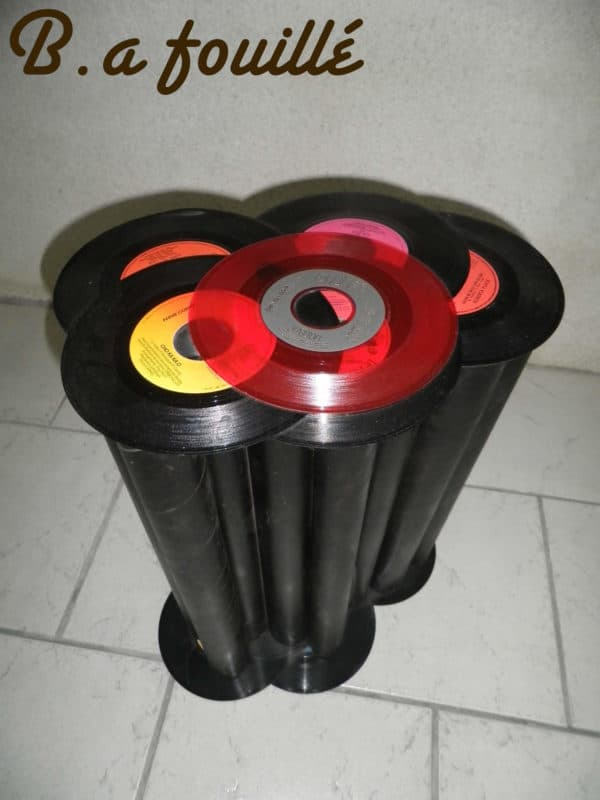 Cardboard Tubes & Old Vinyls for a Rock & Rolls Table Recycled Furniture Recycled Vinyl