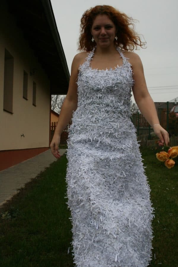 Dress From Shredded Paper Trash Accessories Recycling Paper & Books