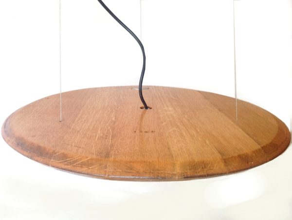 Halo Pendant Led Light from Recycled Wine Barrel Top Lamps & Lights Wood & Organic