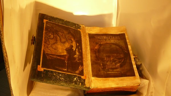 Steampunk Book: Tribute to Jules Verne Recycled Art Recycling Paper & Books