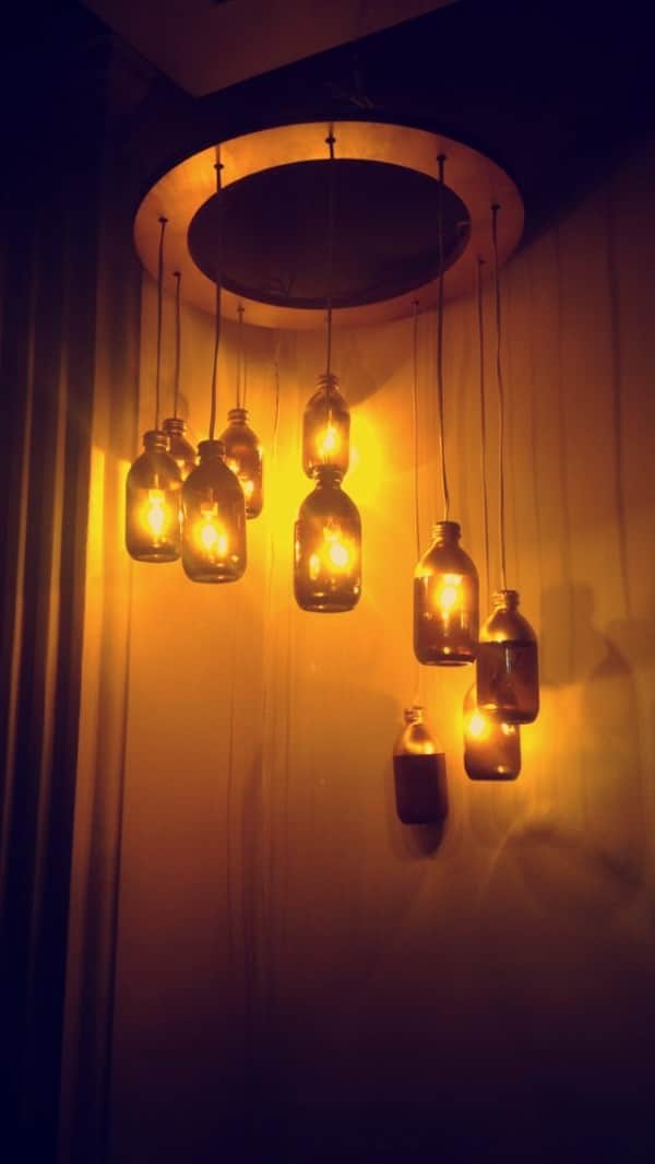 Vitaene C Bottles Upcycled into Chandelier Lamps & Lights Recycled Glass