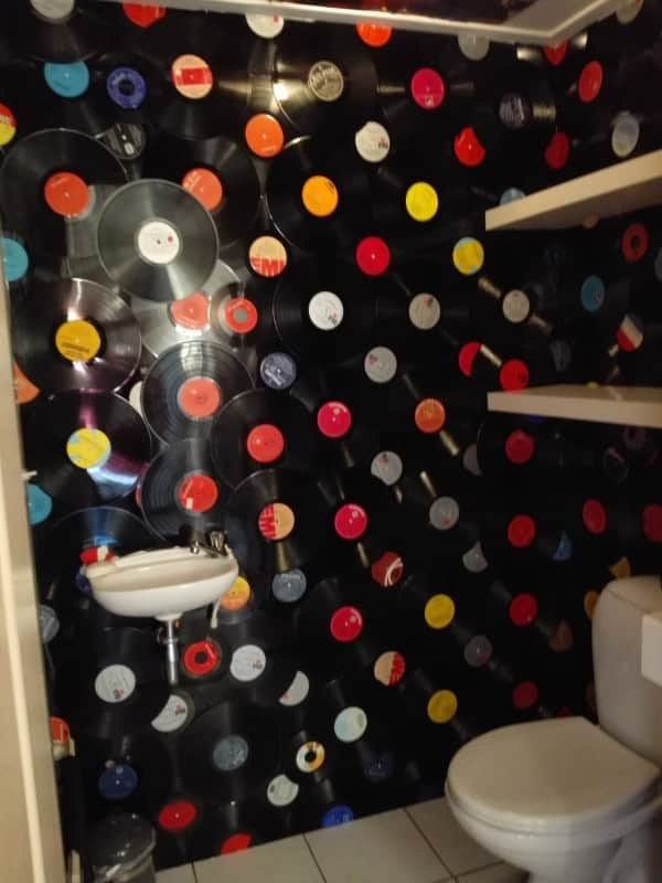 150 Vinyl Records as Wall Decoration in My Toilet Recycled Vinyl