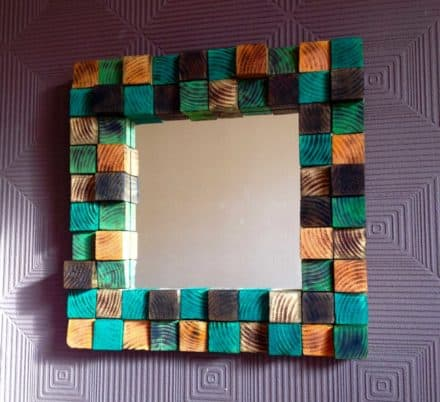 Mirror From 64 Repurposed Wood Blocks