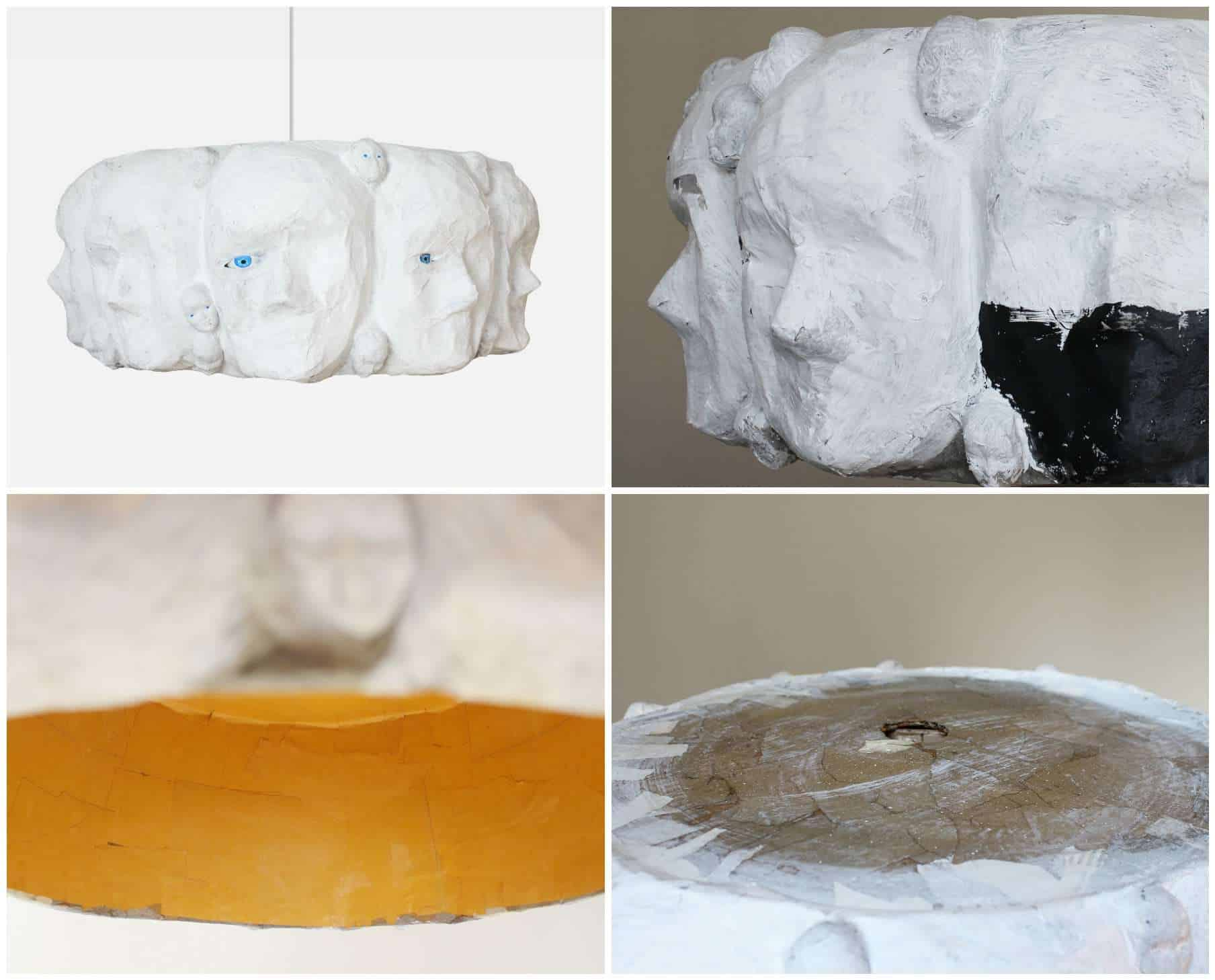 Modern art lamp shade with paper mache recyclart for How to make paper mache lamps