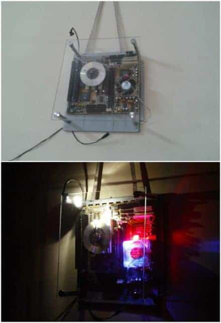 Recycled Motherboard Into Clock With Dim Arc Light