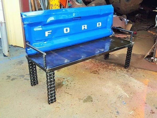 Upcycled Garden Ideas: Scrap Metal Truck Tailgate Into Bench Garden Ideas Mechanic & Friends