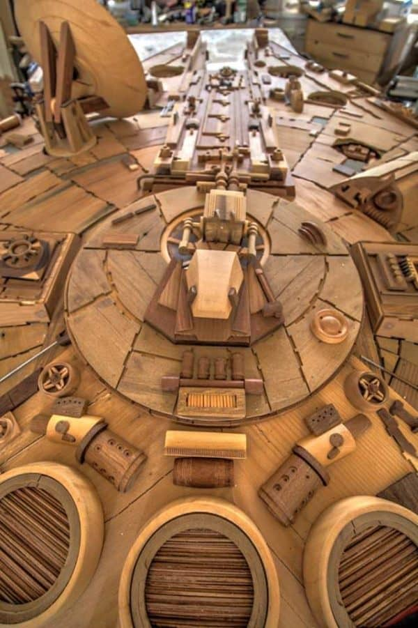 Amazing Millenium Falcon Made From 3,000 Pieces of Wood by Martin Creaney Recycled Art Wood & Organic