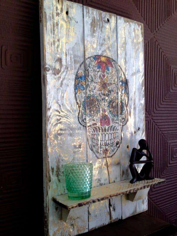 Day Of The Dead Wall Hanging From Repurposed Pallet Wood Recycled Pallets