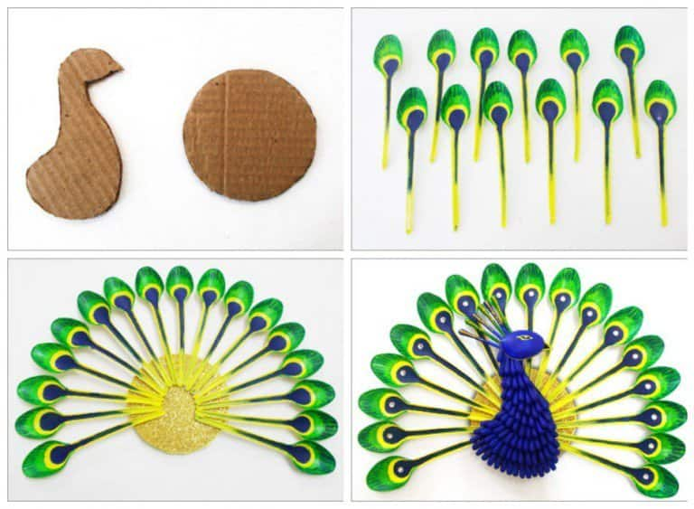 Diy home decor how to make beautiful peacock with plastic for Best out of waste for class 1