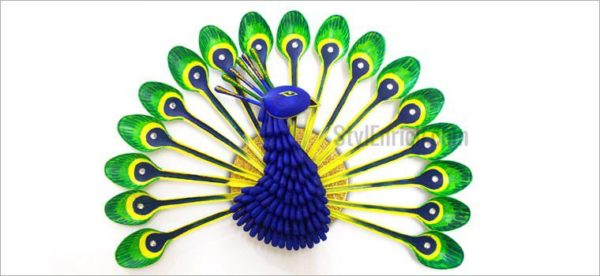 Recycled Home Decor diy home decor: how to make beautiful peacock with plastic spoon