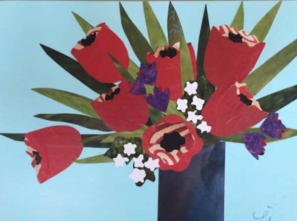 Paper Collage Workshop – Spring Tulips Recycled Art Recycling Paper & Books