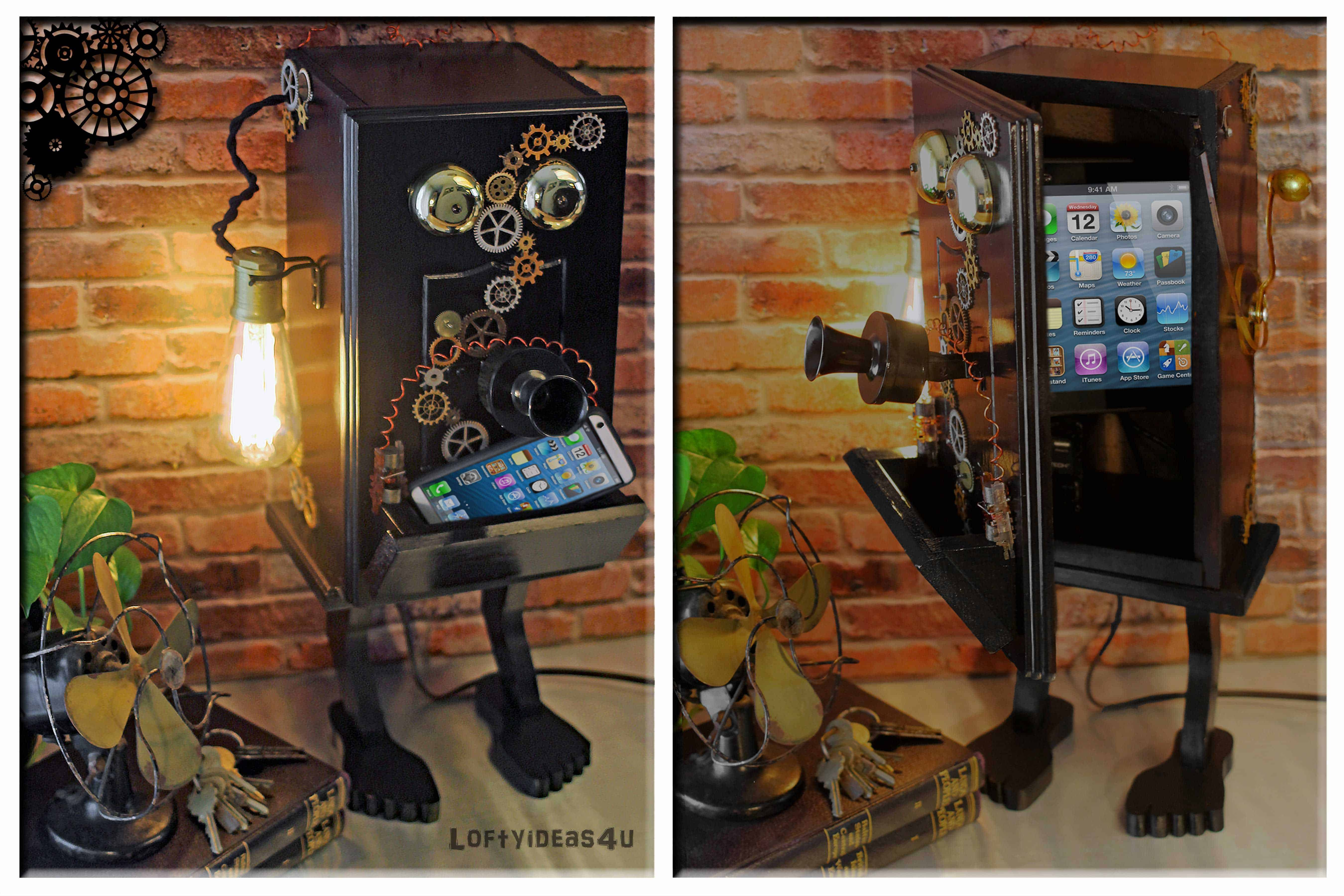 Ring In The Steampunk Decor To Pimp Up Your Home: Steampunk Gears Whimsical Wood Black Telephone Upcycled 2