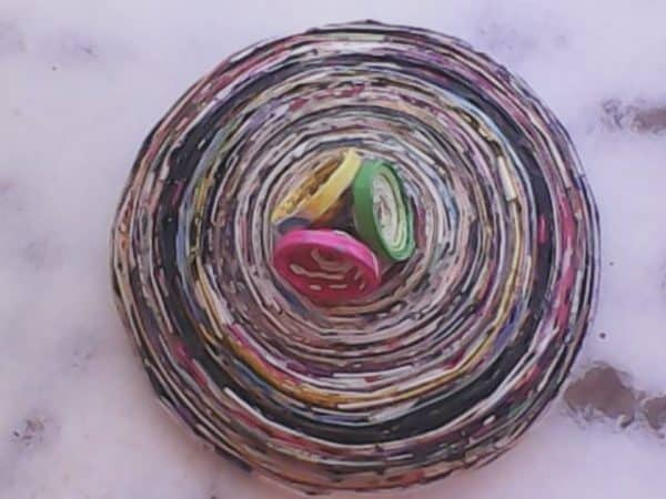 Three Circles As Hanging: Rolling Magazines Paper Recycling Paper & Books