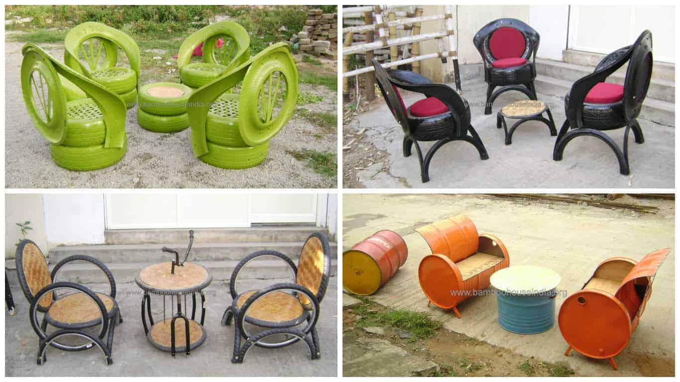 Upcycled Furniture From Old Tires Oil Drums amp Bike Parts
