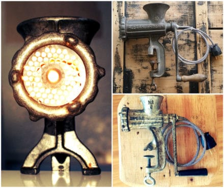 Upcycled Meat Mincer Lamps